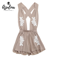 AZULINA Sexy Women Rompers Jumpsuits Floral Appliques Halter Self Tie Playsuits Open Back Deep V Neck