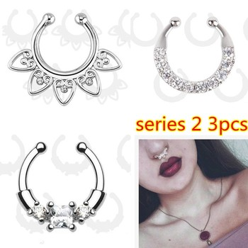 Fashion Crystal fake nose ring round shape Fake septum Piercing Hoop For Women Body Jewelry 4