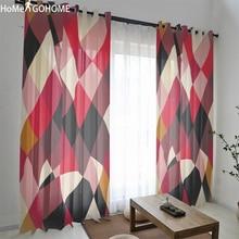 Nordic Geometric Decoration 3D Tulle Curtains for Living Room Sheer Window Bedroom Modern cortinas para la sala
