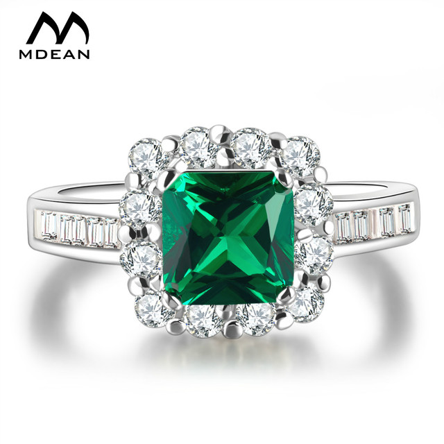 MDEAN White Gold Color  Rings for Women Engagement Green AAA Zircon Jewelry Wedding Classic Jewelry Size 6 7 8 MSR188