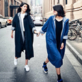 2016 Big Size Harajuku Autumn Denim Trench Coat Open Stitch Loose Long-sleeved Denim Cardigan Coat Boyfriend Coat