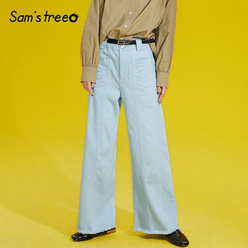 , Kobiety, jasny, niebieski myte dżinsy prosto luźne Denim spodnie na co dzień kobiet na zamek błyskawiczny kieszenie spodnie Cut noga otwarcie spodnie w Dżinsy od Odzież damska na  Grupa 1