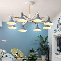 Z litego drewna żyrandole LED do salonu sypialni kolory klosz Nordic styl do montażu na powierzchni E27 u nas państwo lampy oprawy oświetleniowe