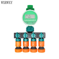 wxrwxy Garden tap irrigation timer 4 way tap 3/4 Hose connector 4 way splitter Timer for watering 1set
