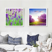 Purple Lavender Flower Ocean Oil Painting Full Hill Floral Gorgeous Wonderful Canvas Picture Decor Public Space