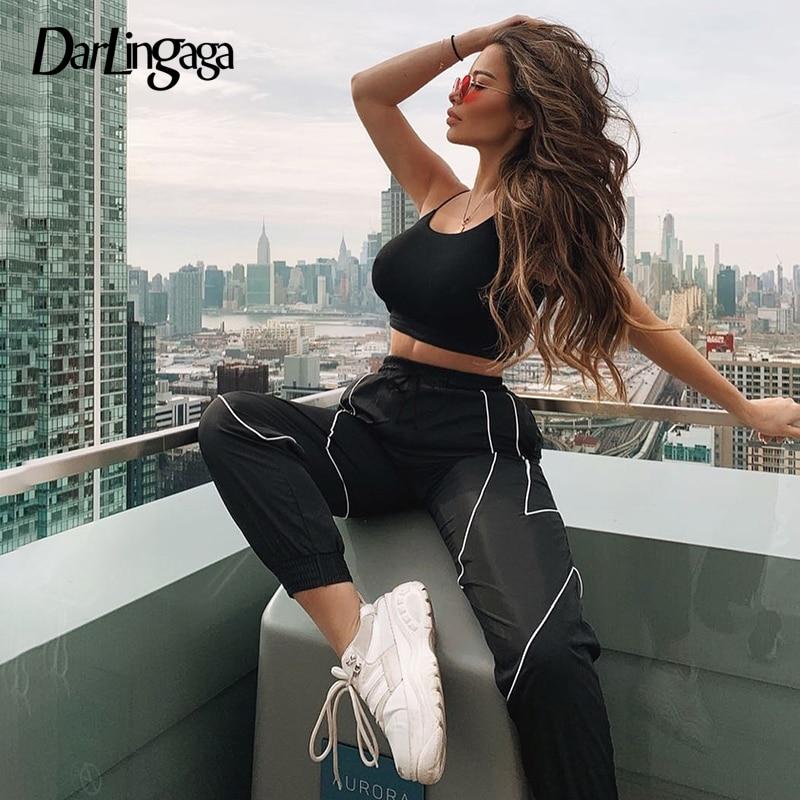 Darlingaga Streetwear Baggy Black Track Pants Joggers Women Stripe Patchwork Fashion Trousers Elastic Waist Pants Capris Bottom