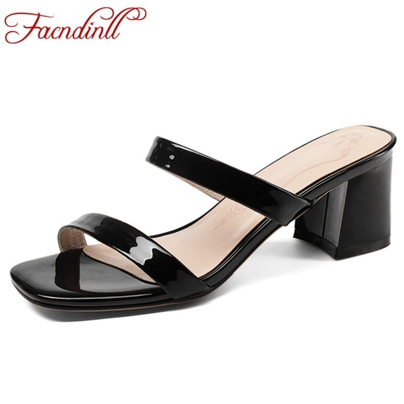 FACNDINLL 2018 summer shoes women sandals with crude heels leather sexy black sandals female sandals stiletto open toe slipper facndinll summer shoes women sandals