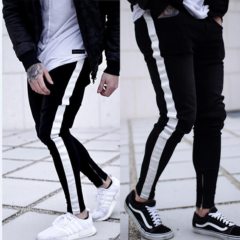 2019 Men Stylish Stripe Ripped Jeans Pants Biker Skinny Straight Frayed Denim Trousers New Fashion Skinny Jeans Men Clothes AB12