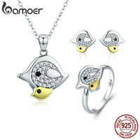 BAMOER Genuine 100 925 Sterling Silver Lovely Mother Bird With Kids Mother Love Jewelry Set Sterling