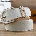 BooLawDee cinturón casual Femenino de LA PU hebilla de la aleación con forma de corazón diamante para jeans rojo marrón negro blanco azul amarillo rosa 8C015