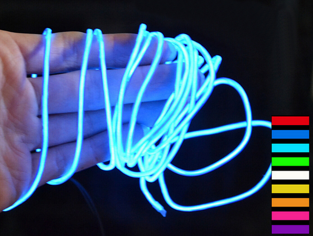 2AA Battery Powered 2m Scene lights 10 Colors EL Wire Tube Rope ...