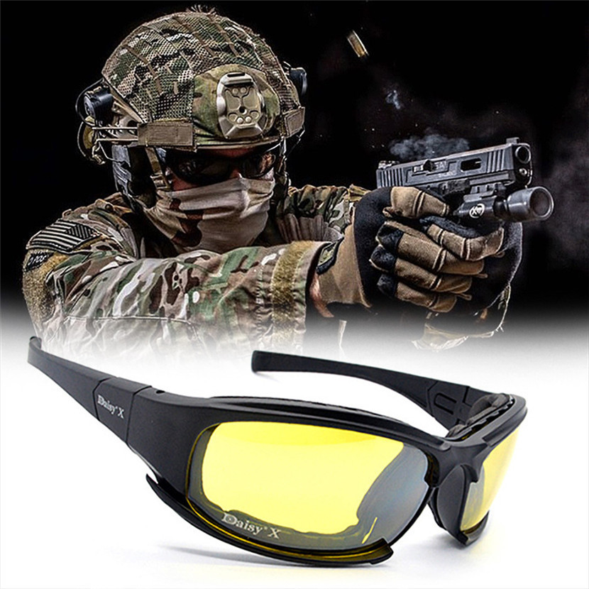 Car 4 Lens Kit Army Goggles Military Sunglasses Men Outdoor Sports War Game Tactic Driver Goggles