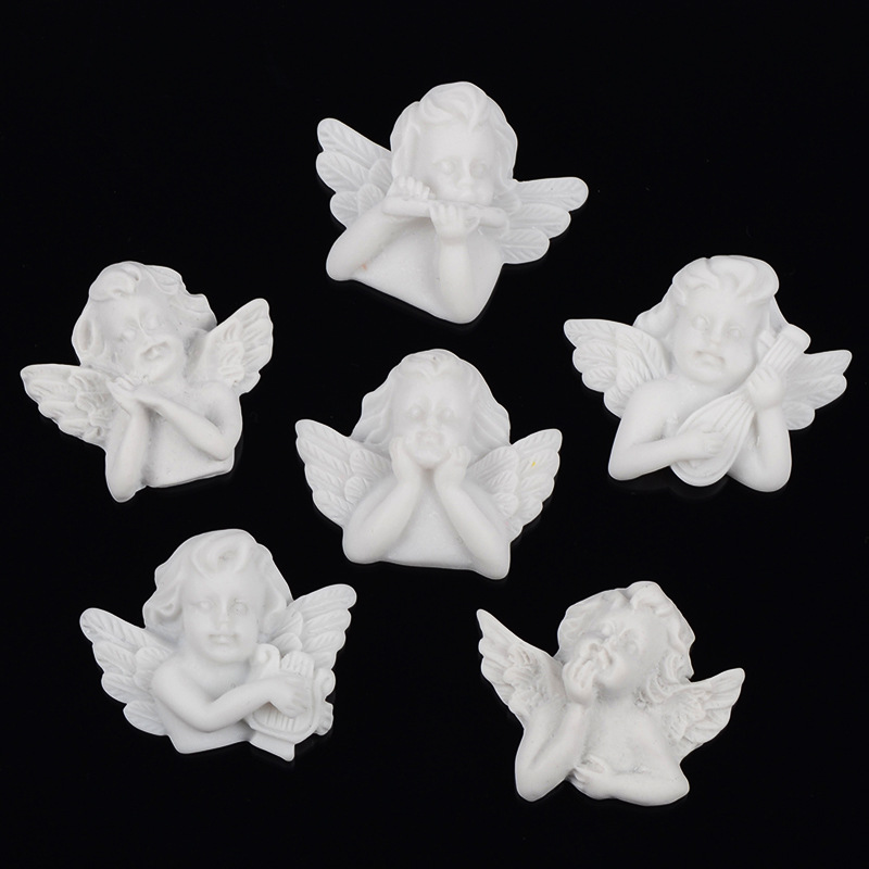 10Pcs Flat Back Resin Embellishments White Angel Baroque Style Resin Cabochon Flatback DIY DIY Jewelry Necklace Hair Accessories