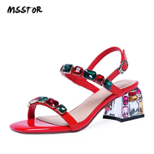 MSSTOR Crystal Women Sandals 2019 Plus Size Fashion Classics Peep Toe Buckle Strap Sexy Red Sandals Square Heel Summer Sandals