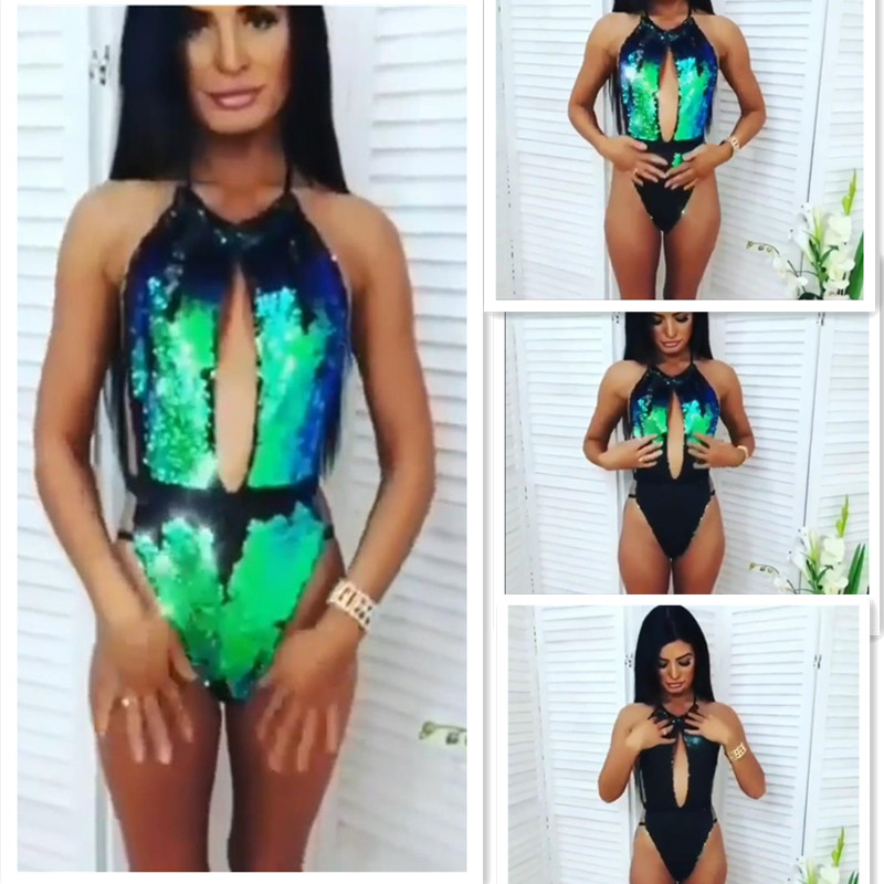 a283566a70 Sexy One Piece Swimwear Ladies Sequined Starry Sky Discoloration Mermaid  Swimsuit Retro Halter Cut Out Bathing Suit Monokini