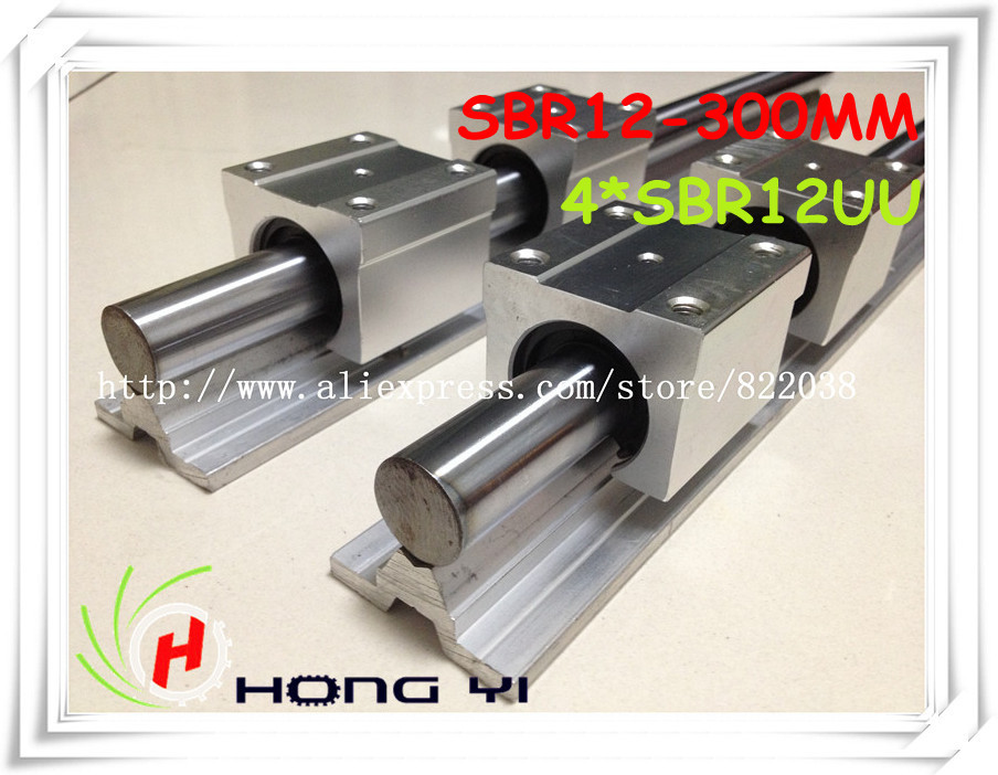 2pcs SBR12-L300mm Linear rails support+4pcs SBR12UU bearing blocks linear slide unit for CNC Linear цена