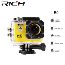 Big discount RICH B9 full HD 1080P 2inch Screen Action Digital Sport Cam Waterproof 30M DV Camera Mini portable Photo underwater Video Cam