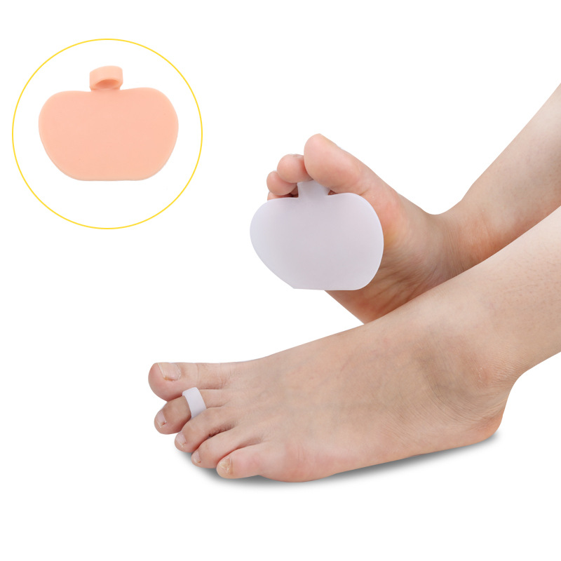 5 pairs Apple Shape Half Palm Cushion Insole Silica Gel Cloven Supporting PU Insoles Orthodontic Silicone Insoles