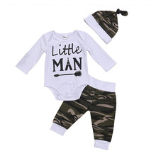 pudcoco 3Pcs Newborn Baby Boy clothing set bebe boys letter bodysuit+Camouflage Pants+Hat kids autumn Outfits Clothes(China)