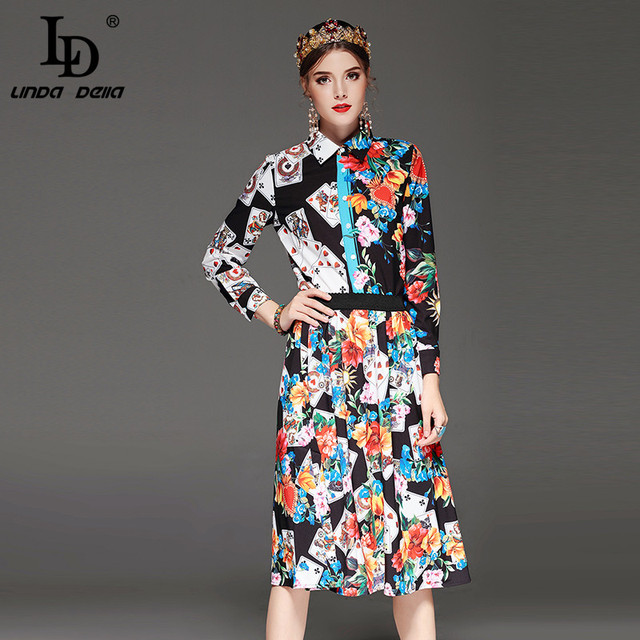 Two-Pieces Set Long Sleeve Playing cards Floral Print Blouse and Skirt Suit Sets