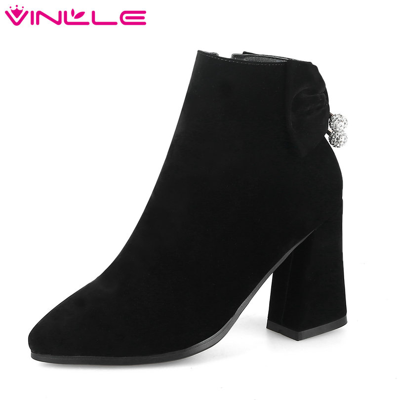 VINLLE 2018 Women Ankle Boots Shoes Hoof High Heel Flock Zipper Pointed Toe Black Ladies Motorcycle Shoes Size 34-43 new 2017 spring summer women shoes pointed toe high quality brand fashion womens flats ladies plus size 41 sweet flock t179