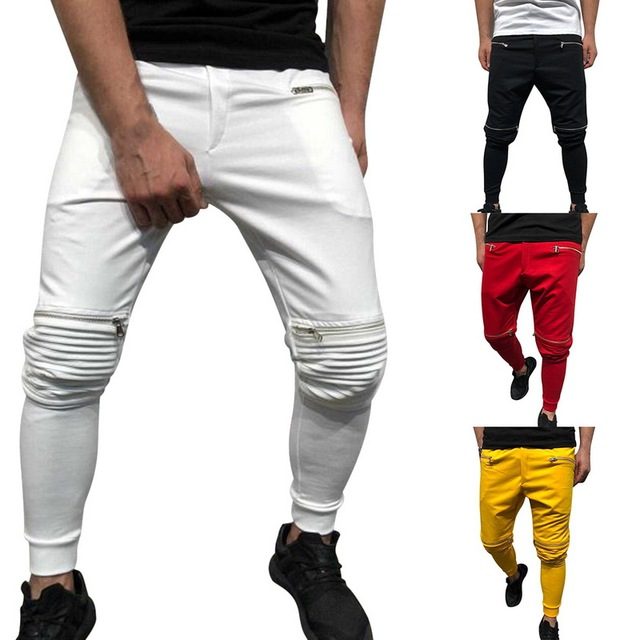 2019 Fashion New Streetwear Sweatpants For Men Causal Drawstring Sportswear Pants Trousers Joggers Solid Zippers Pants Male