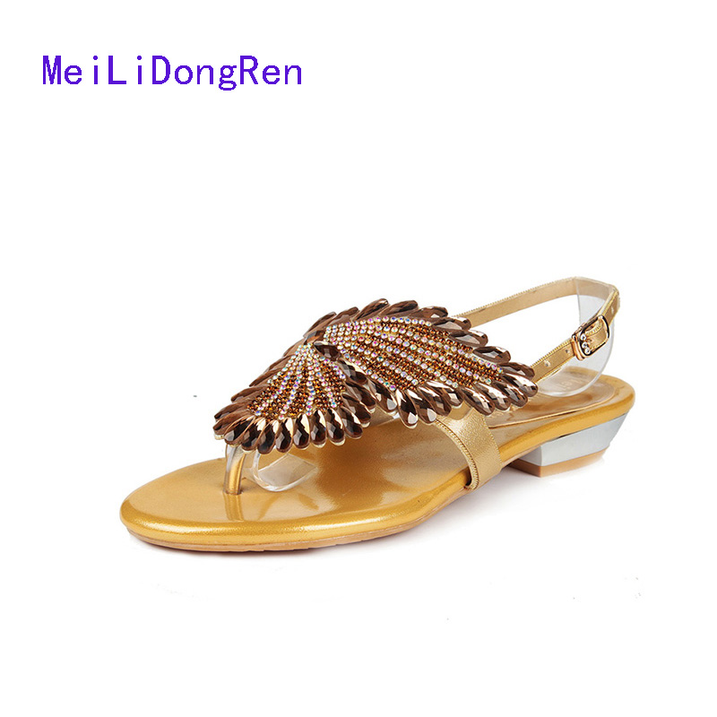 Quality Brand Women Low-heeled Sandals Summer New Diamond Shoes Clip Toe Gold Bead Roman Sandals Small Size 33 34 women shoes summer women sandals 2017 peep toe gold silver roman sandals shoes platform brand creepers woman sandalias size 43