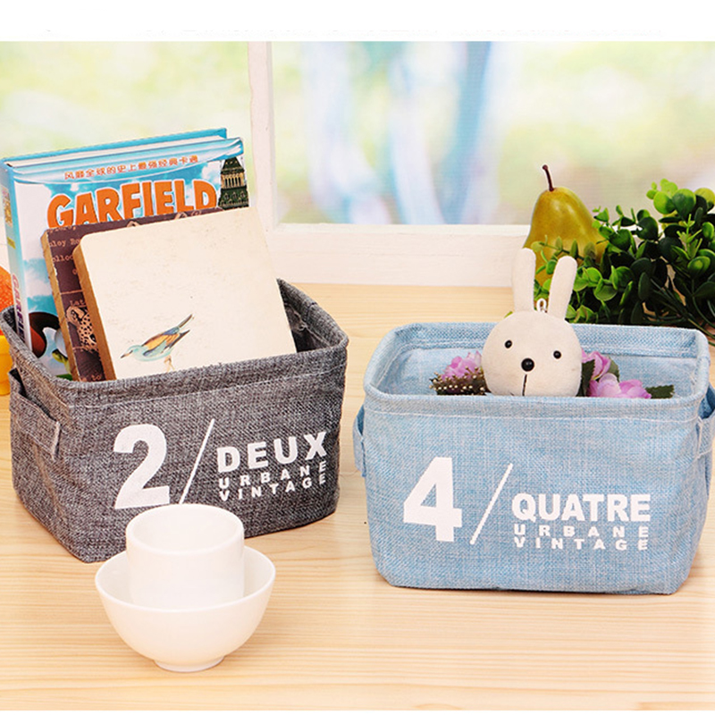 Foldable Cotton Linen Desktop Toy Storage Box Organizer with Handle Sundries Makeup Cosmetic Storage Basket Container Boxes