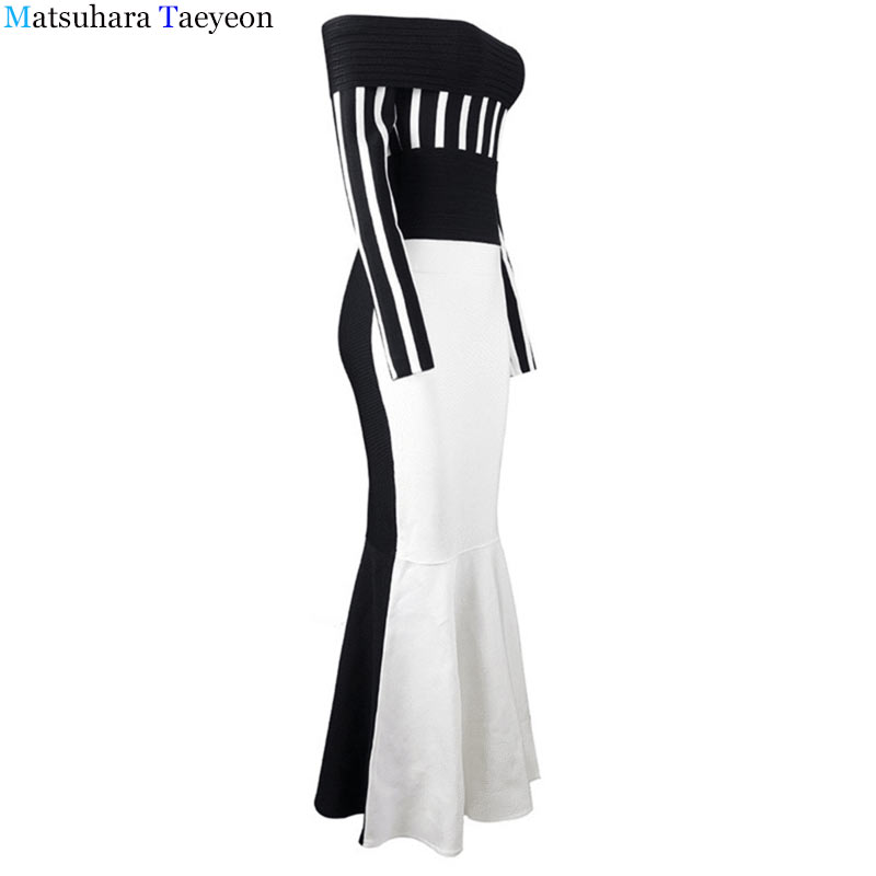 new women sexy dress elegant word shoulder stripe package hip dress tube top black white office maxi bohemian dress 2019
