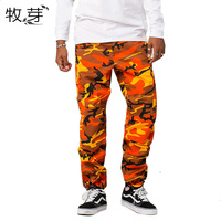 Military Camo Cargo Pants 2017 Mens Fashion Baggy Tactical Trouser Hip Hop Casual Cotton Multi Pockets