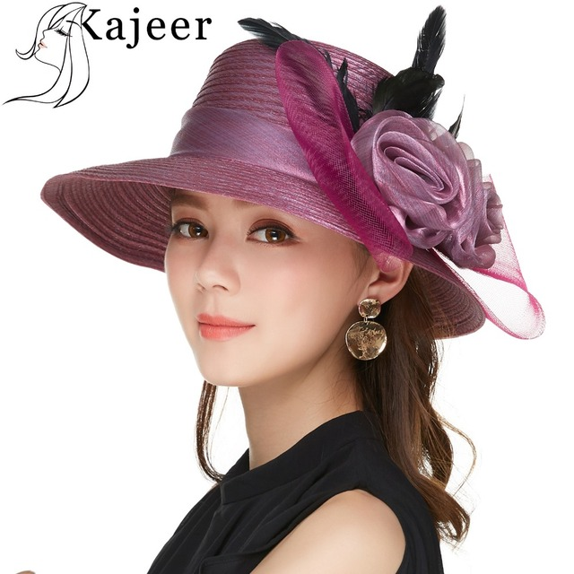 78cb7697d3dfc Kajeer 2019 Purple Women Bowler Hat Female Elegant Noble Net Feather Felt  Fashion Wide Brim Fedora Cap Bowknot Visor Rays UV Hat