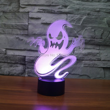 Color changing Flashing touch sensor control Hallowmas Evil Ghost Arcylic 3D USB LED Phantom table Lamp Specter Night Light