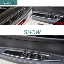 Tonlinker 4 Pcs DIY font b Car b font Styling stainless steel Windows lift button sticker