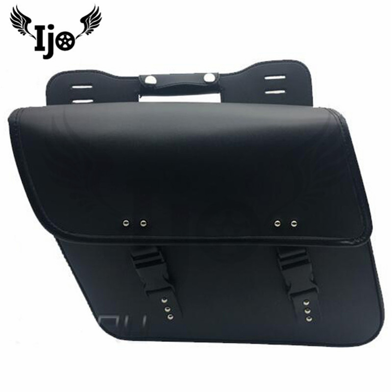 Ijo Motorcycle Black PU Leather Saddlebag Saddle Bag Luggage Bag Pannier Bag For Harley yamaha suzuki High-quality saddle bag
