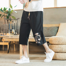 Summer Straight Calf-Length Pants Embroidery Mens Elastic Waist Large Size