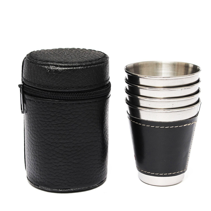 YKPuii Store 4PCS 70ml Mini Stainless Steel Wine Alcohol Leather Wrap Cupware Hip Flask Water Bottle Outdoor Travel Drinkware Kettle