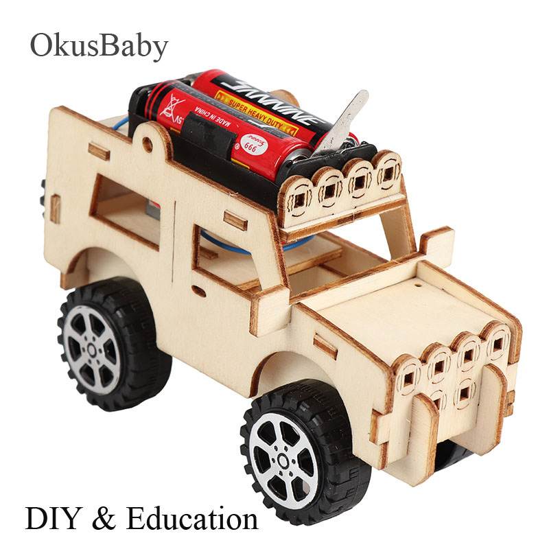 DIY Craft Toys Children Educational Wooden Car Model Assemble Toys Set Electric Vehicle Student Learning School Lessons Toys