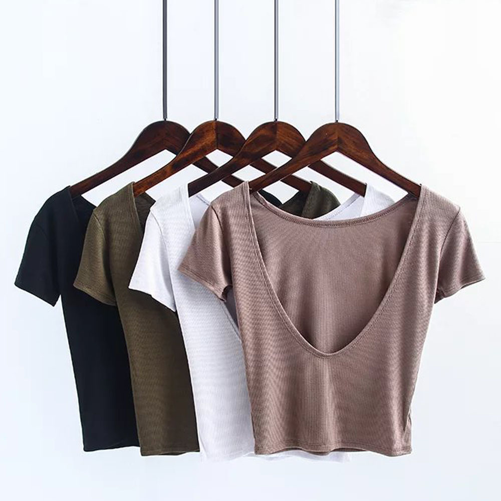 ANSFX Sexy Backless Slim Tight Crop O-Neck Pullover Halter Short T-Shirt Women Short Sleeve Stretch Thread Tee Tops 4 Color