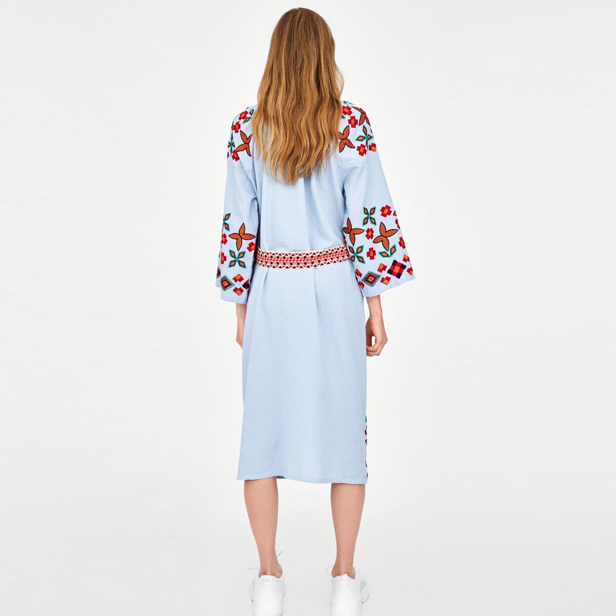 Jastie 2019 automne brodé robe mi-longue manches o-cou femmes robes décontracté Vintage Ukraine robe coton femme robes - 4