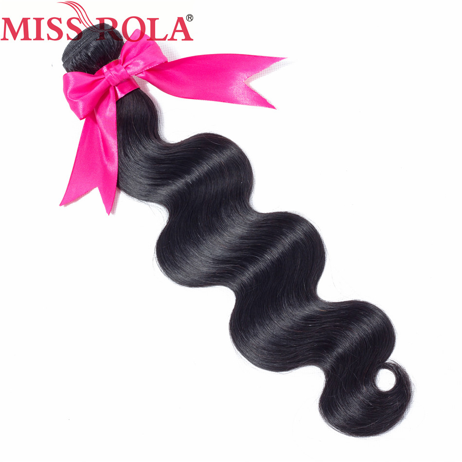 Miss Rola Hair Brazilian Body Wave Hair 8-26 Inches Natural Black 100% Human Hair Non-Remy Hair Extensions 1 Bundle Only