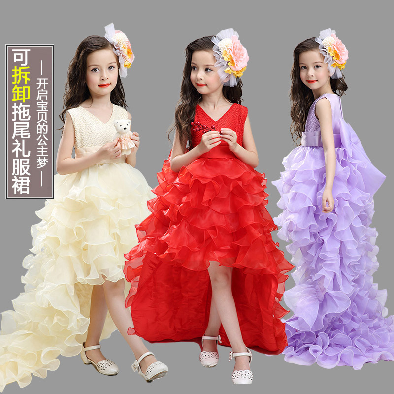 2018 High Quality Girls Sleeveless Princess Children flower girl dress Wedding Party 4-12 Years Kid's Trailing Long Prom Gowns girls sleeveless princess children flower girl dress for wedding 3 14 years girls long tail party prom dresses