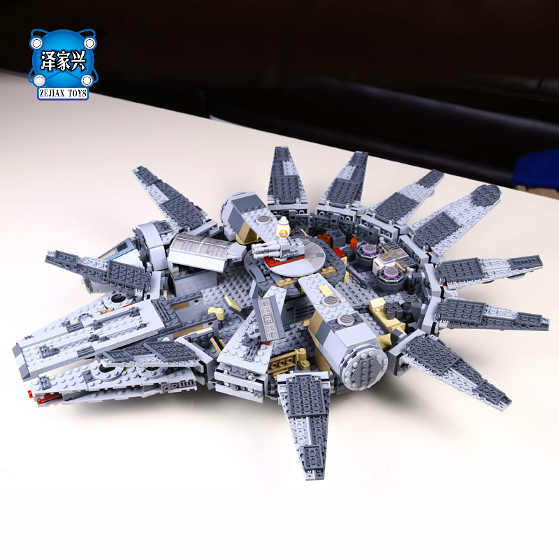 DIY 3D Model Millennium Falcon Building Bricks Blocks Toys for Children Game Weapon Compatible with Lepins Figures Toys new diy model technical robot toys large particle building blocks kids figures toy for children bricks compatible lepins gifts