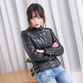 FREE SHIPPING 2017 Women Black Genuine Leather Down Jacket Stand Collar Real Sheepskin Plus Size XXL Slim Fit Short Lady Coat