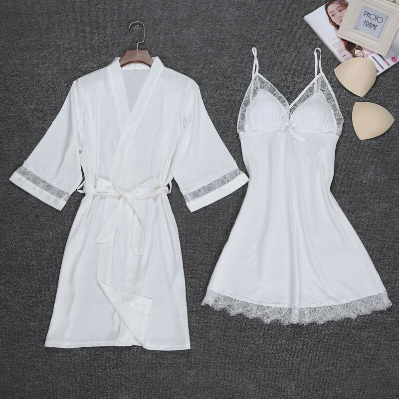 Sexy Women Robe & Gown Sets Silk Robe Femme With Chest Pads Lace Satin Sleepwear Night Dress Robes Women Nighty Home Dress