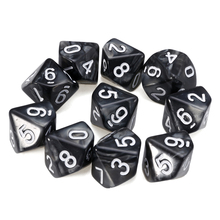 Hot Sale 10Pcs D10 Ten Sided Pearl Gemmed Dices Die 0-9 for DDG Set RPG Playing Funny Table Outdoor Party Family Games Dice