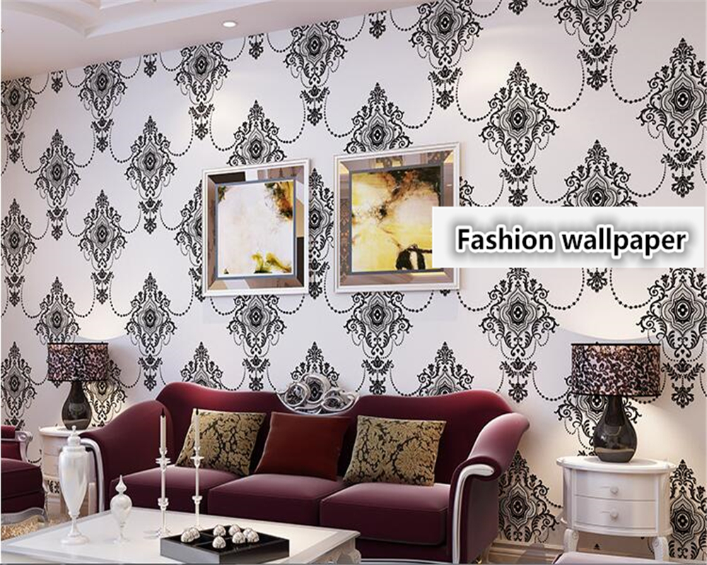 beibehang 3D Embossed European Damascus Nonwoven Wallpaper Black AB Living Room Bedroom TV Background papel de parede Wall Paper платье quelle ajc 646912