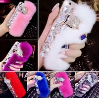 Big diamond Real rabbit fur cover case For Samsung S10 S20 S8 S9 S20 Plus Note10 9 8 Top quality Luxury bling Rhinestone Case