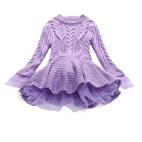 7 Colors Thick Warm Girl Dress Christmas Wedding Party Dresses Knitted Chiffon Winter Kids Girls Children