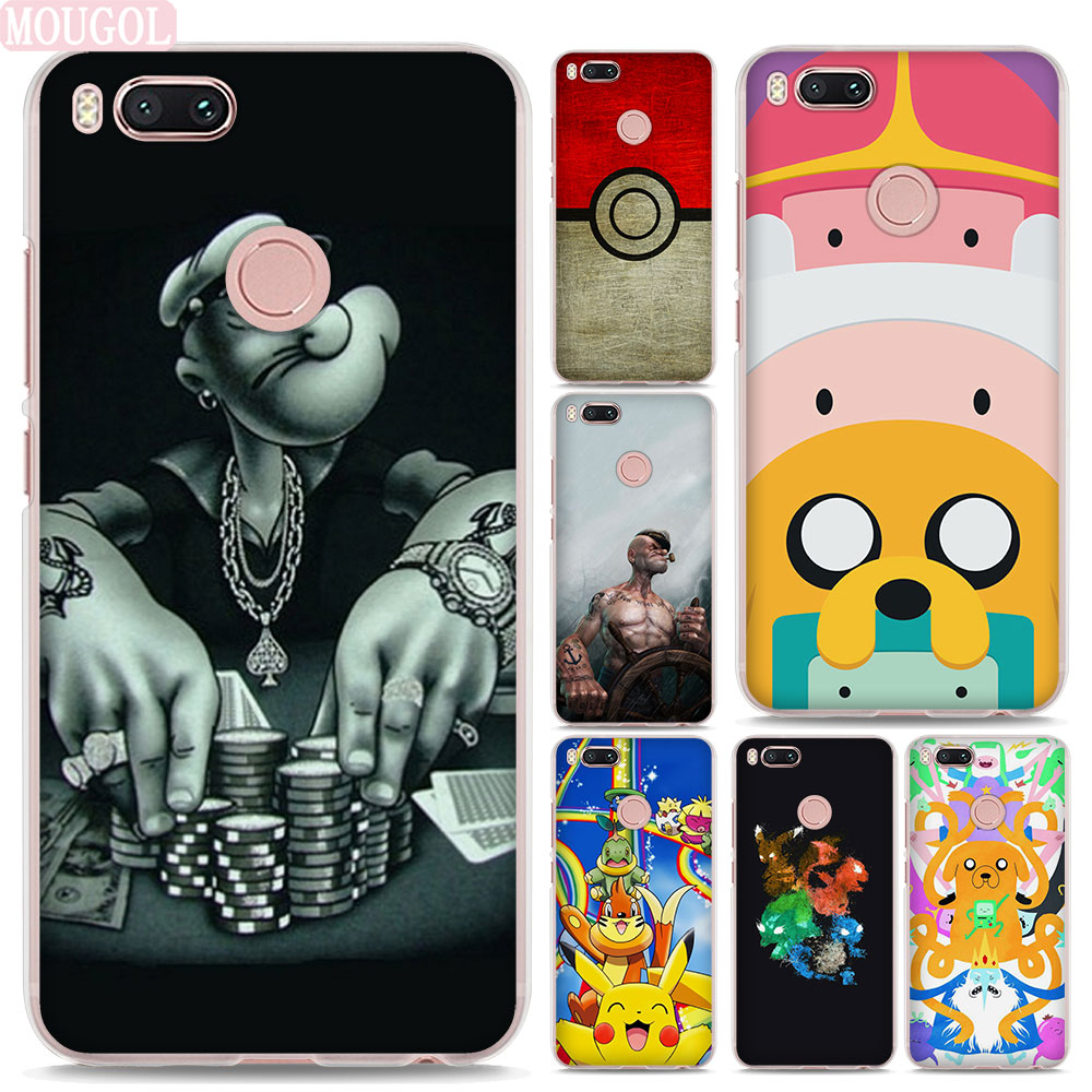 MOUGOL Popular Adventure Time popeyes design hard clear Phone shell Case for Xiaomi Mi A1 5X 6 5s for Redmi 5A 4X Note4X 5Plus
