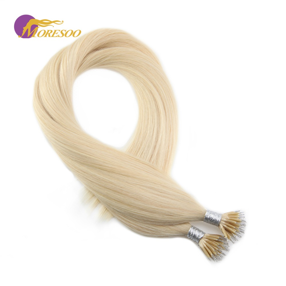 Moresoo Hair Micro Nano Ring Bleach Blonde Color #613 100% Real Remy Human Pre-bonded Hair Extensions 0.8g/s 50Pieces